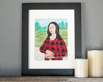 MONA LISA - Mona Lisa Linocut - Buffalo PLAID, Leonardo Da Vinci art poster