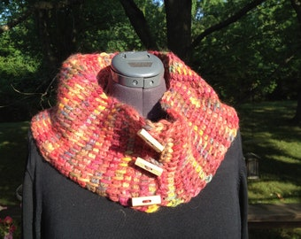 Hand-crocheted Alpaca Cowl -- Fall colors