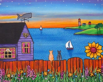 Cats,Whale.Ocean cottage, print by Shelagh Duffett