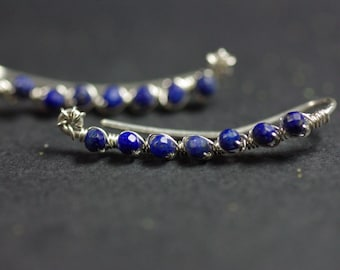 Lapis Lazuli Climbers, Ear Climber Earrings Sterling Silver Climbers Lapis Ear Crawlers Silver Ear Cuff Lapis Lazuli Earrings