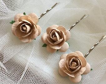 Bridal hair pin, rose hair pin, beige, flower hair clip, wedding hair accessories, flower bobby pin, bridesmaid, rose bobby pin