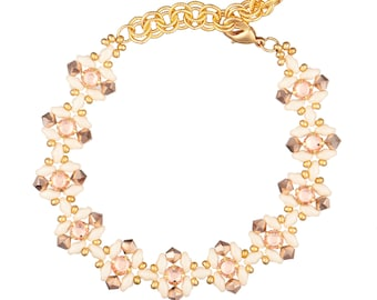 Bracelet Kit Rose Montee Flora Dance with Swarovski® Crystals - Cream and Rose Gold