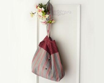 Japanese Knot bag, large project bag, shoulder bag, hobo bag, rust, army green, pockets, upcycled shirts, slouchy shoulder bag, ooak purse