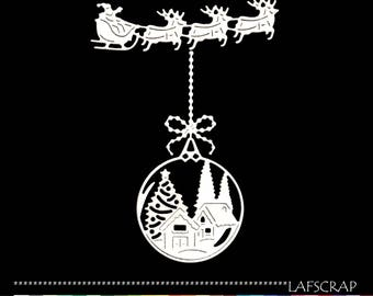 Cut scrapbooking ball Christmas tree Santa Claus sleigh reindeer House animal embellishment Scrapbook scrap