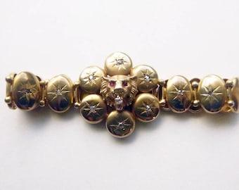 Art nouveau 10k yellow gold diamonds  and paste lion head figural bracelet circa 1890s