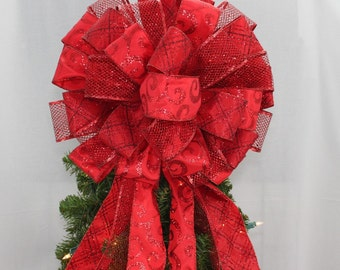 Dark Red Sparkle Christmas Tree Bow Topper - Christmas Tree Bow, Tree Topper, Large Christmas Bow, Bow Tree Topper, Red Christmas Bow