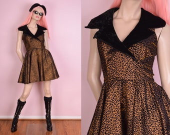 80s Iridescent Copper Leopard Print Flocked Dress/ US 5-6/ 1980s