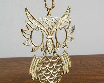 Boho 70s Gold Owl Pendant Necklace, Owl Lover, Mid Century, Glam, Glamorous Statement Necklace, Funky Unique,