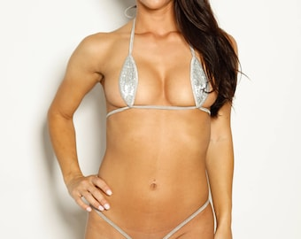 Bitsy's Bikinis Single Tie Teardrop Bikini - Hollywood Silver Sequin Silver String