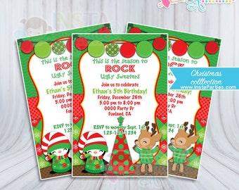 Christmas party invitations Ugly Sweater boy girl xmas office Birthday invitation digital printable file 4x6