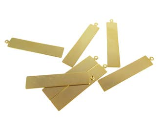 Gold Plated Rectangle Engraving Charms (4x) (M659-C)