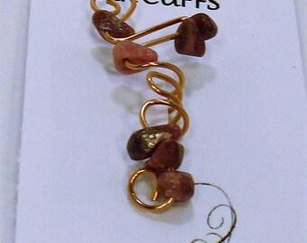 Medium Rhodonite & Copper Ear Cuff FREE SHIPPING