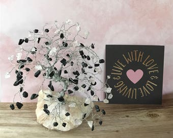 Rose Quartz Gem Tree, Black Jasper Gems, Gemstone Tree, Wire Tree, Gifts For Her