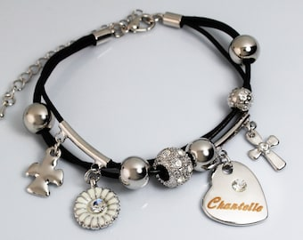 CHANTELLE - Leather Bracelet With 18ct White Gold Plated Engraved Name Charm featuring Swarovski Element Crystals - Free Gift Bag & Box
