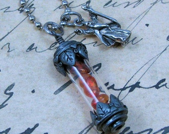 Amber Vial Pendant with Silver Wizard Charm, Wizard Necklace, Amber Vial Necklace, Fantasy Jewelry