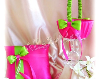 Royal blue and black wedding ring pillow and flower girl hot pink fuchsia and lime green wedding ring bearer pillow and flower girl basket wedding ring cushion and basket set mightylinksfo