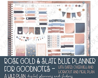 GoodNotes digital planner for iPad - Rose Gold & Slate Blue - 2018 dated overview - monthly planner weekly daily planner w/ meal planner