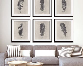 Birds of a Feather (Series 6A) Set of 6 - Art Prints (Featured in Charcoal on Stone Wash) Feather Wall Art