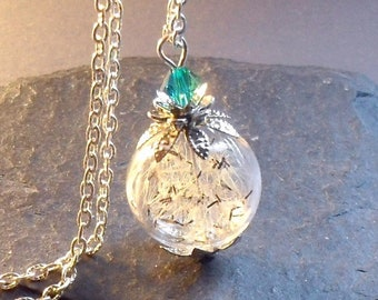 DANDELION NECKLACE, with RARE limited wildflower seeds Dandelion Seeds, Glass Bead Orb Silver Necklace Real flower necklace, Make A Wish