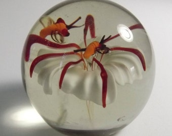 Vintage Art Glass Paperweight, White Flower with Two Busy Bugs