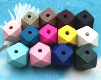 10pcs 20mm oringinal Colored facet wooden beads