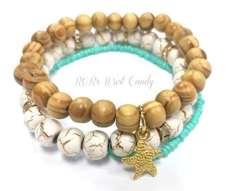 Wood Starfish Bracelet, Bracelet Set, Beach Jewelry, Starfish Charm Bracelet, Bracelet Trio,Gold, Handmade, Custom, Beaded Jewelry