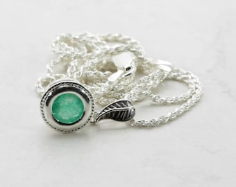 Emerald (Natural African Emerald), 7mm x 1.29 Carats, Round Cut, Sterling Silver Pendant Necklace with Chain