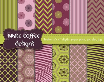 Mother's day digital paper, chevron, quatrefoil, purple, green, scrapbook paper, premade pages, background, instant download, digital supply