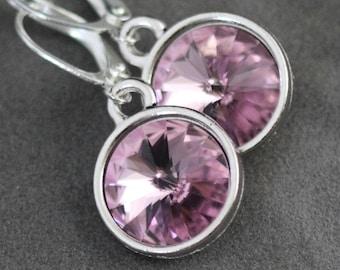 Alexandrite Earrings, Light Purple Amethyst Birthstone Jewelry, June Birthstone Earrings, Swarovski Crystal June Birthday Jewelry