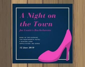 5x5 Custom Navy Pink High Heel Bachelorette Party Invitation