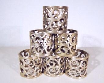 Antique Silver Plate FLEUR-DE-LIS Napkin Rings Set of Six (6)