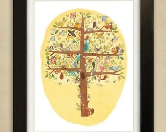 Birds and Squirrels Illustration - Children's Art Print