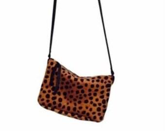 Leopard print cross body bag. Hair-on-hide bag. Leopard handbag.