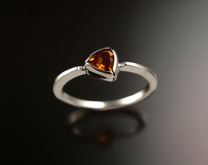Stackable Citrine triangle ring 14k white Gold stacking ring Made to order in your size