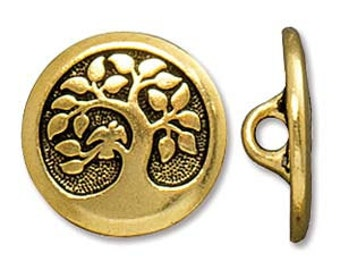 16mm Gold Plate Tree of Life Button, Tierra Cast Button, Tree of Life Button, 16mm Gold Button, Leather Wrap Button, Tree of Life Clasp