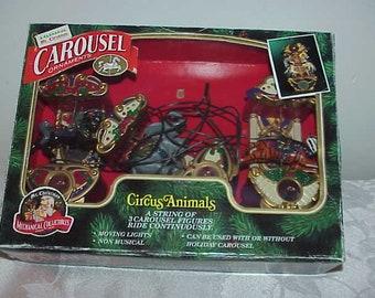 Mr. Christmas Carousel Circus Animals Ornaments EUC