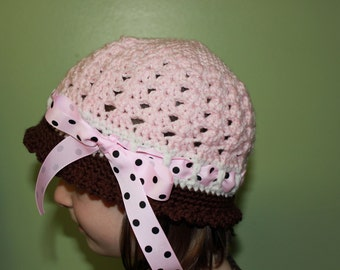 Cloche Girls Hat - Girls Cloche Hat - Katrina Style Cloche Hat - Crochet Cloche Hat - Girls Summer Sunhat - Custom Color Crochet girls Hat