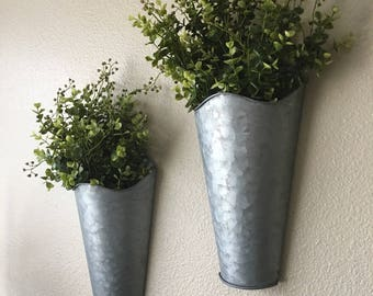 Set of Two, Rustic Wall Decor, Sconce with Flowers, Country Wall Decor, Rustic Decor, Home Decor, Farmhouse Wall Decor, Rustic