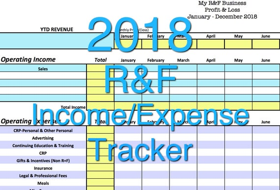 2018 rodan fields income  expense tracker exclusive monthly