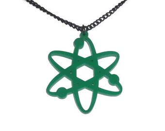 Atom Necklace, Green Laser Cut Science