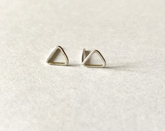Tiny Sterling silver triangle earrings - minimalist earrings, tiny silver studs, silver earrings,christmas present