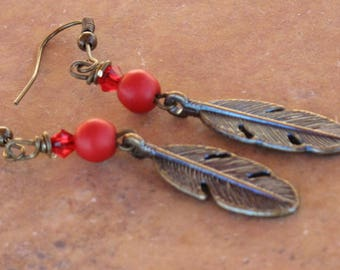 Patina blue or coral Feather earrings