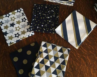 Navy and Gold Geometric Design, Fat Quarter Bundle 100% Cotton