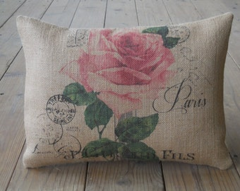 Rose Postcard Burlap Pillow, French Flower Postcard, Farmhouse Pillows, Shabby Chic 13, Spring Pillow, Mother's Day Gift,  INSERT INCLUDED