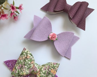 Hair bows, medium hair bows, oversized medium bow, handmade bow, glitter bow, leather bow, liberty london fabric bow