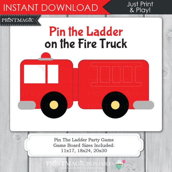Pin The Ladder On The Fire Truck Printable Party Game