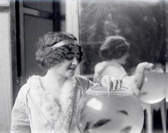vintage photo Print Artist Model French Model Gazes in Fish Bowl 1900