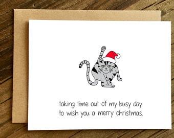 Lustige Weihnachtskarte - Cat - Weihnachtskarte - Urlaub Weihnachtskarte - Auszeit nehmen.