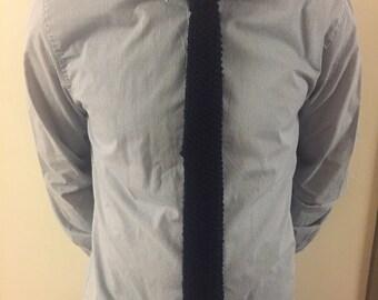 Hand knit Navy Blue Skinny Necktie