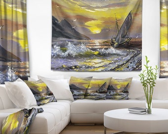 Designart Meet you Soon Seascape Wall Tapestry, Wall Art Fit for Wall Hanging, Dorm, Home Decor